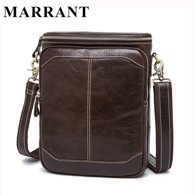 ФОТО MARRANT Hot Sale Male Bags 100% Genuine Leather Men Bags Messenger Crossbody Shoulder Bag Men's Casual Travel Bag For Man 8003