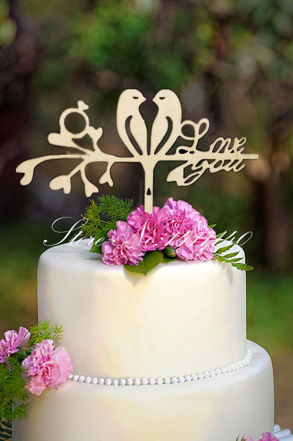 Love You  with two birds wooden cake topper rustic wedding cake      Love You  with two birds wooden cake topper rustic wedding cake toppers  for village