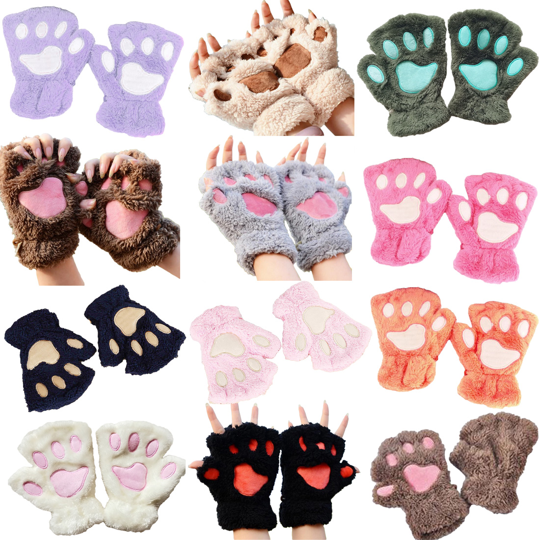 2018 Winter Lovely Bear Cat Claw Paw Mitten Plush Gloves Short Finger Women Half Gloves Ladies Half Cover Female Gloves  Plush