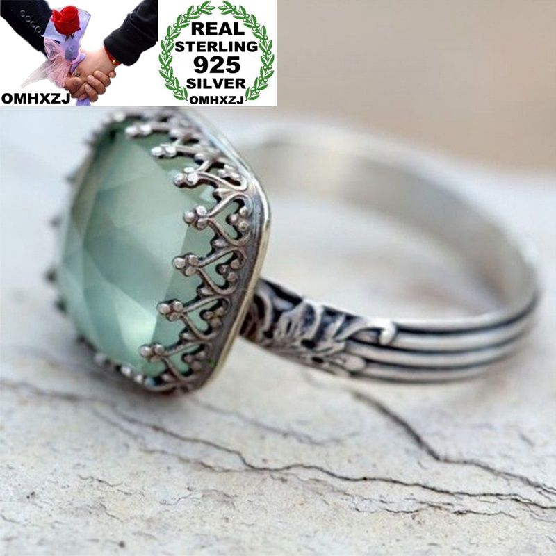 OMHXZJ Wholesale European Fashion Woman Man Party Wedding Gift Silver Light Green Square AAA Zircon Taiyin Ring RR328