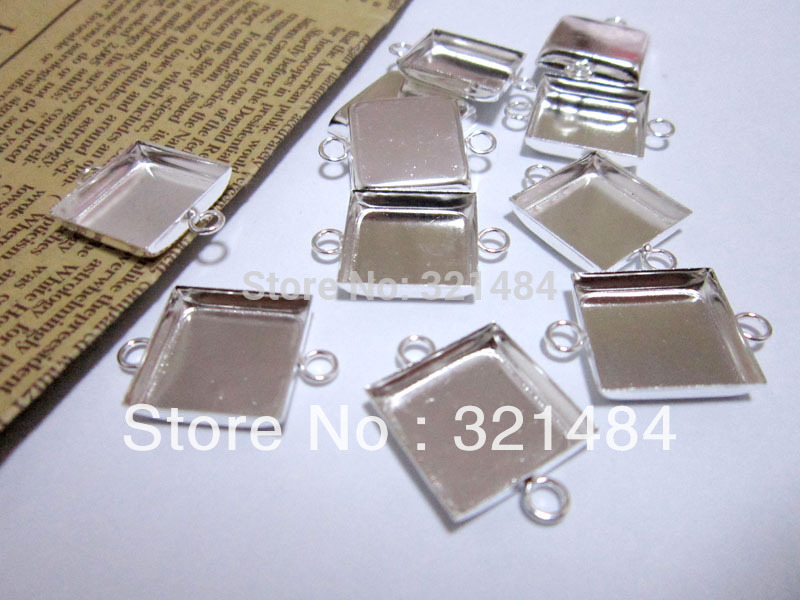Silver Plated 16mm Cabochon Setting Square Pendant Tray Bezel Pendant Blank w double Loops Pendant Base