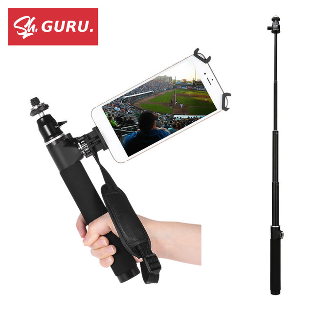 US $34 99 |Aluminum Alloy Selfie Stick Monopod + Smartphone Mount Phone  Clamp for DJI Osmo Mobile 2 GoPro 5 4 Xiaomi Yi 4K Extension Pole -in  Selfie
