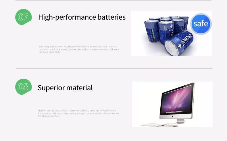 E-ACE Car Dvr Camera Led Lights Blue Rearview Mirror FHD 1080P Night Vision Video Recorder Dual Lens Auto Registrator Dash Cam 15