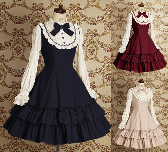 Sweet Lolita Dress Women's Cotton Long Sleeve Vintage Dress with Ruffles