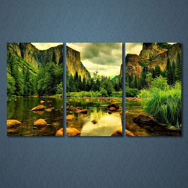 Online Shop Home Decor Framework HD Prints Paintings Wall Art Pictures 3 Pieces Rocks River Sights Natural Mountain Landscape Canvas Poster