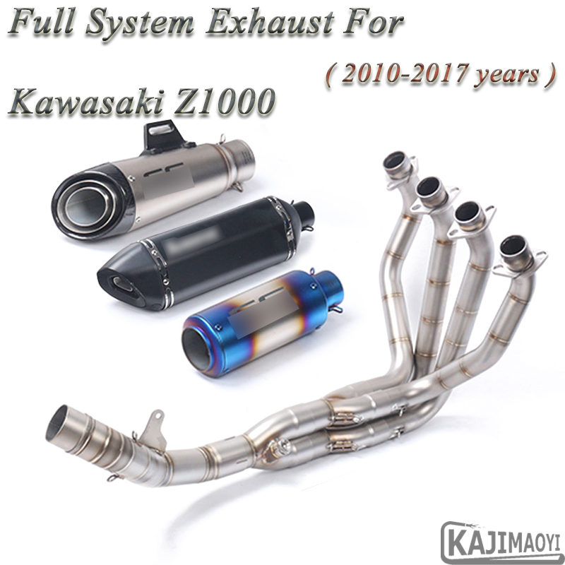 Z1000 Full System Motorcycle Exhaust Slip On For Kawasaki Z1000 2010-2017 Modified Side Row Front Link Pipe Muffler DB Killer