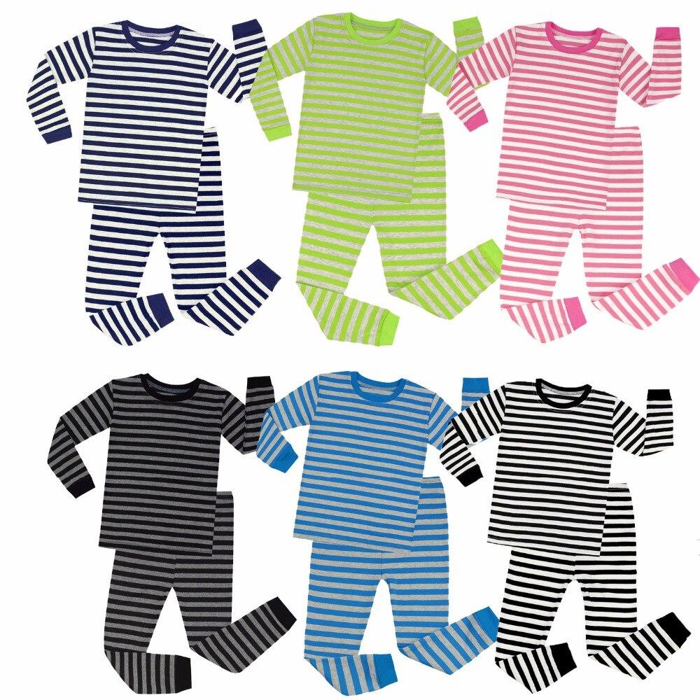 Brand New Boys Girls Long Sleeve Cotton Striped Pajamas Sets Kids Pyjamas For 1-8 Years Christmas Pajamas Cotton Nightwear