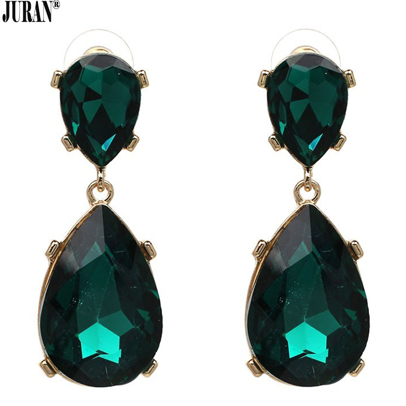 14 COLORS ! Exquisite crystal dangle earrings classic trendy water drop brincos white green fashion statement JURAN jewelry