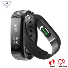 hot deal buy id115 hr smart bracelet heart rate monitor fitness activity tracker smart band waterproof wristbands for ios android vs fitbit1