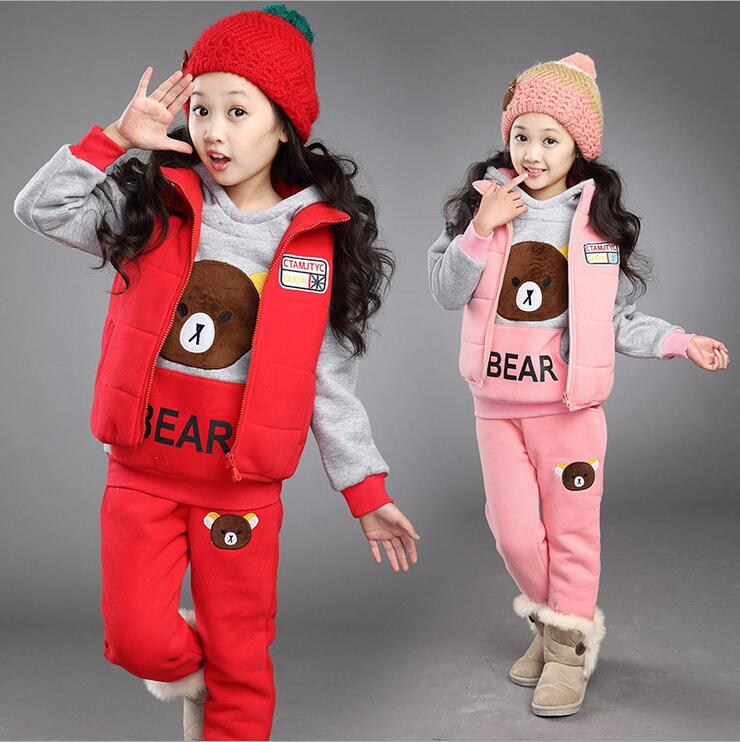 3 Color Bear Pictures Sport Clothing for Teens Girls Tracksuit Hoodies Pants and Vest Teenagers Running