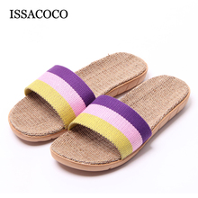 ISSACOCO Womens Summer Striped Linen Slippers Breathable Indoor Non-slip Flax Beach Flip Flops Slides