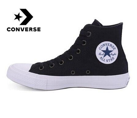 Chaussures originales Converse All Star pour hommes et femmes unisexe baskets hautes en toile bleu noir couleur chaussures de skate 150143C