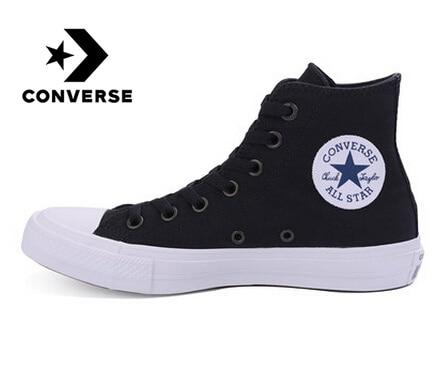 D'origine Converse All chaussures vedettes pour Hommes et Femmes Unisexe Haute baskets en toile Bleu Noir Couleur chaussures pour skateboard 150143C