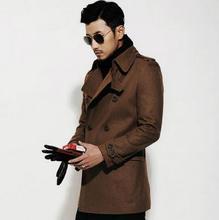 Черный коричневый повседневная с длинным рукавом шерсть пальто мужчины 2017 куртки и пальто мужской мужской шерстяной пальто dress зима короткая траншеи куртка