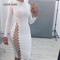 2017 leger babe dài tay áo o-cổ rỗng ra một bên sexy chic trắng đơn giản thời trang bodycon bandage dress bán buôn hl J35