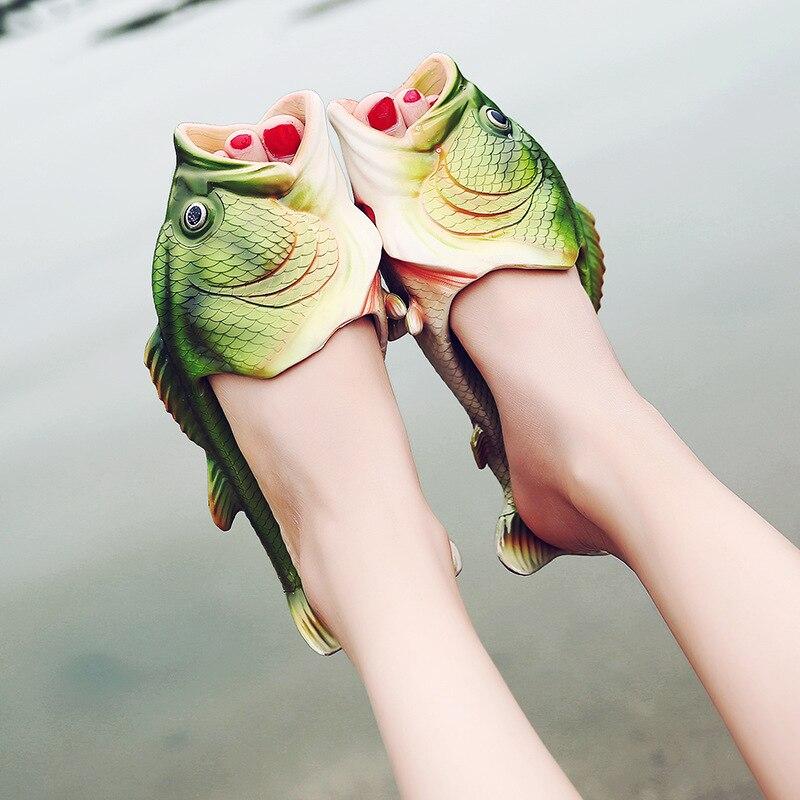 Рыбы тапочки Для мужчин и женщин, летние шлепанцы 2018г. Смешные пляжные сандалии-шлепки, модные шлепанцы с открытым носком.