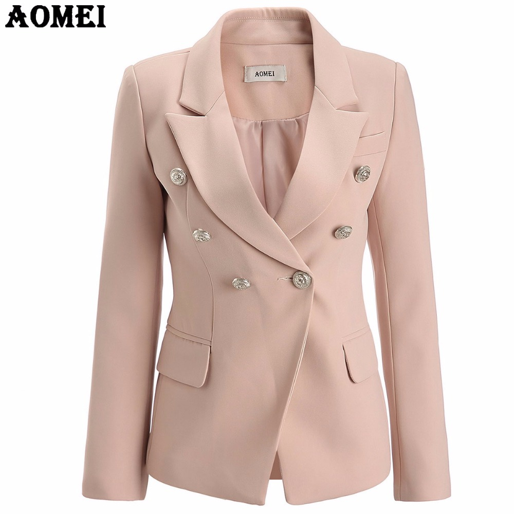 Pale Pink Blazer Wear to Work Office Lady Tops Clothing Fall Women New Button Design Blasers Spring Fashion Coat Chaquetas
