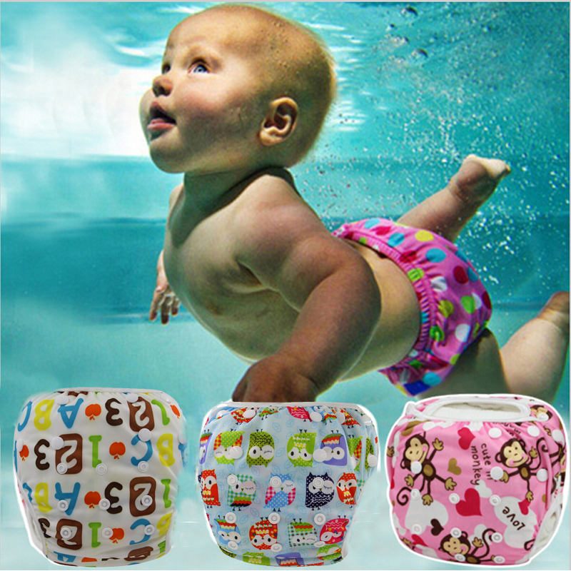 Swim Nappy Waterproof Diaper Pul Cover Cartoon Printed Snap Adjustable Cloth Diapers Eco-friendly reusable Nappies fits