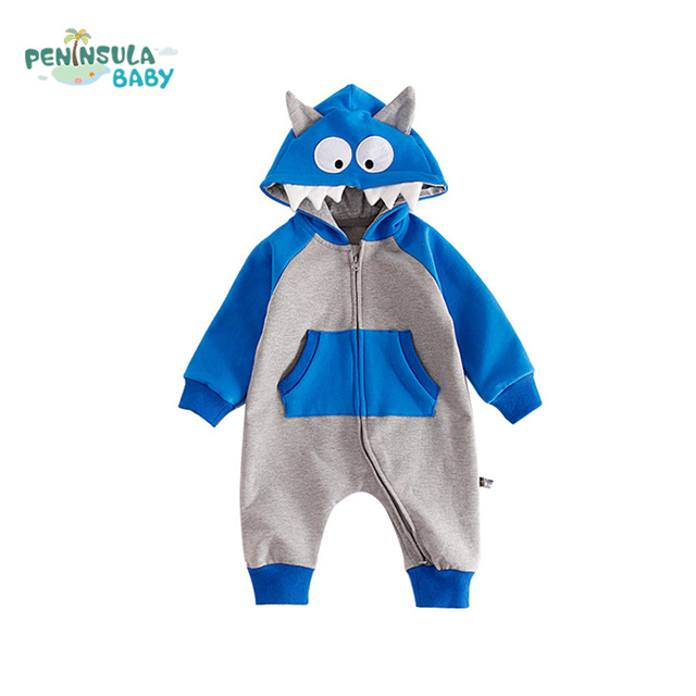 bcec87e2bed Infant Romper Cartoon Little Monster Costume Baby Boys Girls Jumpsuit  Newborn Baby Autumn Winter Long Sleeves Hooded Clothing