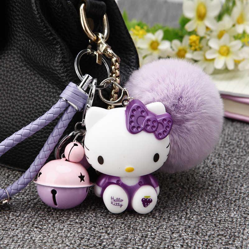 4df59e1ae ... Hello Kitty women Keychain cute Rabbit Fur Ball Pom Pom Fluffy Keychain  Car Keyring Charm Bag ...