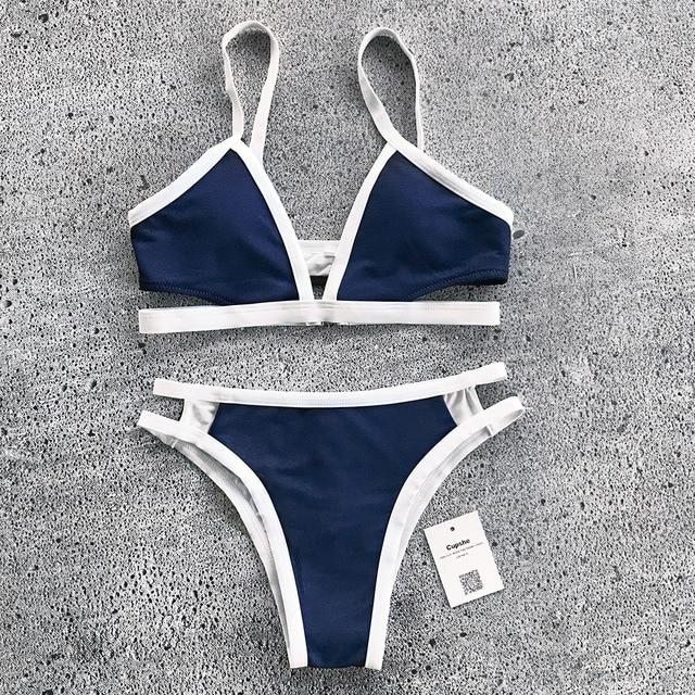 bfef5005f Starfish Cupshe Bay Denim Biquíni Definido Mulheres Verão Sexy Swimsuit  Senhoras Praia Maiô swimwear