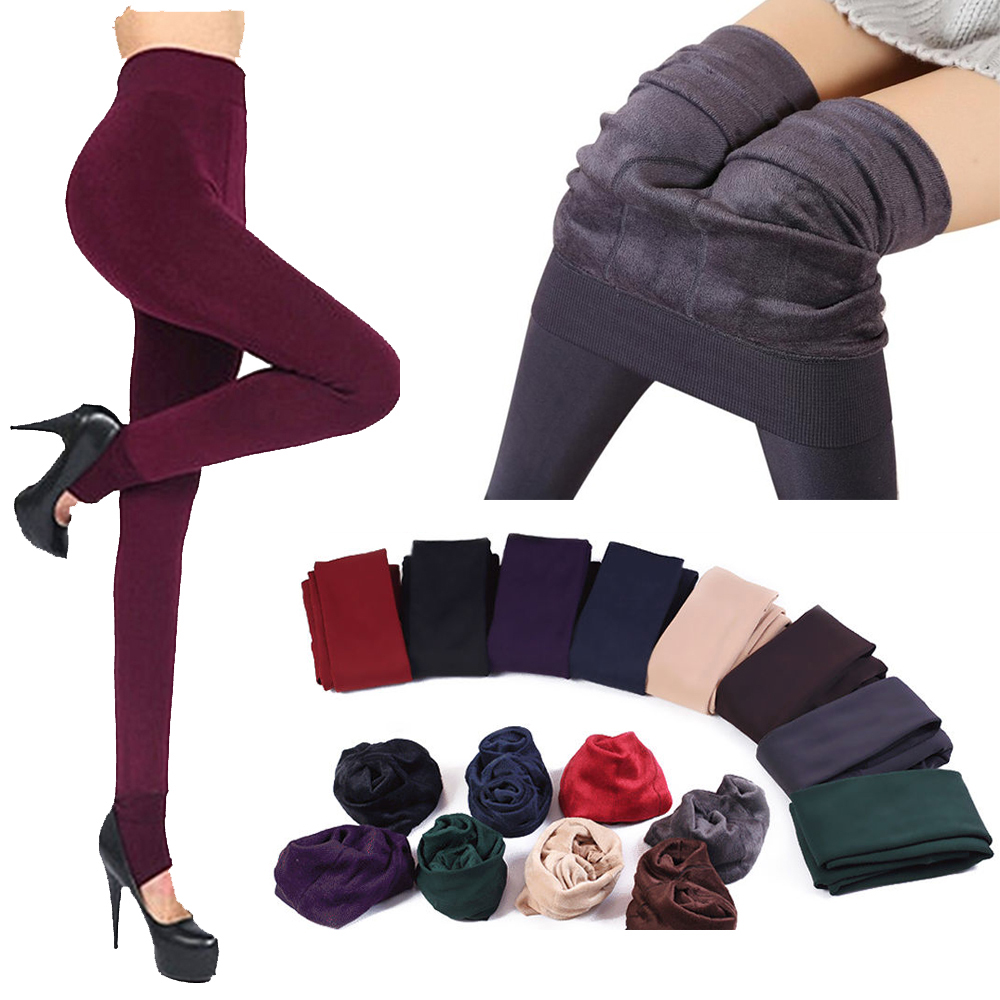 1 Pair Winter Fashion New Women's Solid Thick Elastic Hosiery Warm Fleece Lined Thermal Stretchy Trousers Leggings Pants