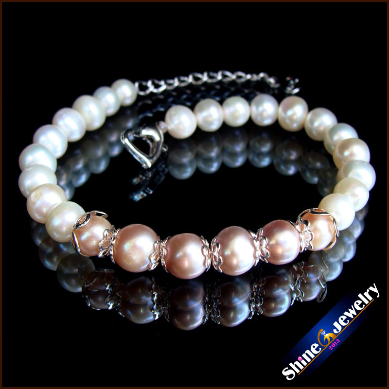Wholesale 7-8-mm natural freshwater pearl handmade knitting bracelet jewelr Free shipping