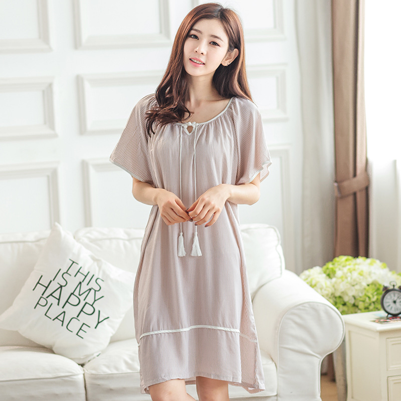 Women Sleepwear Summer Ladies Lingerie Sleepdress Striped Nightdress Round Neck   Nightgown   Leisure   Sleepshirts   cusual Homewear