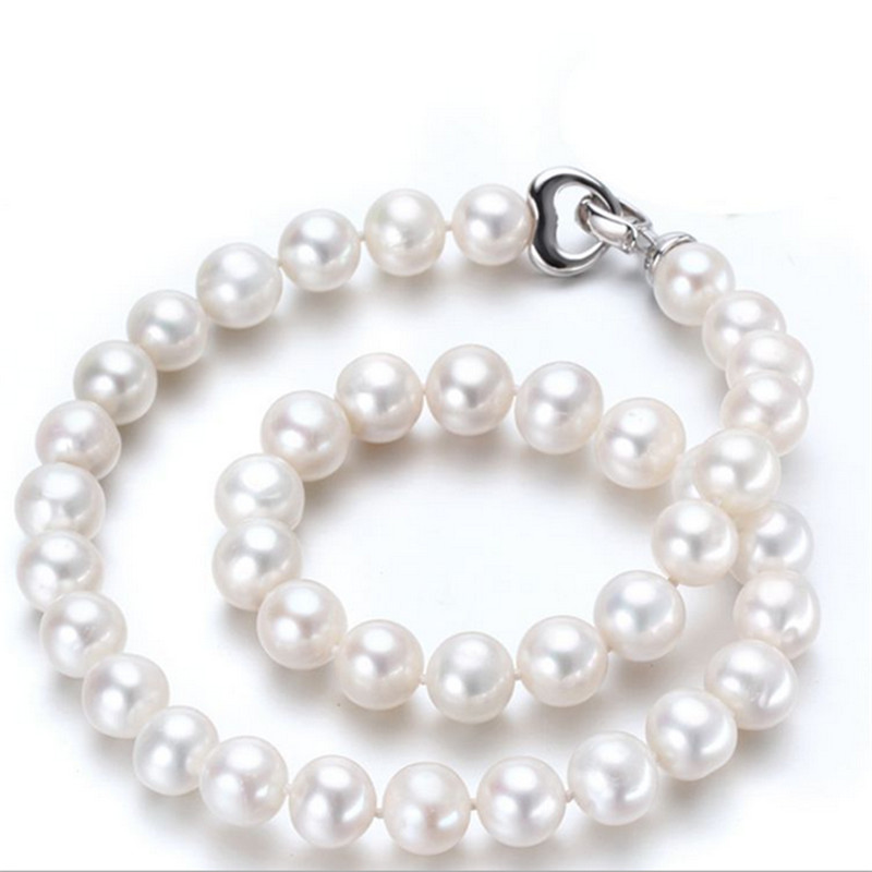 SNH Natural Freshwater Pearl Necklace For Women 10mm AA off round shape Necklace Beads Jewelry stylish women s beads round arc necklace