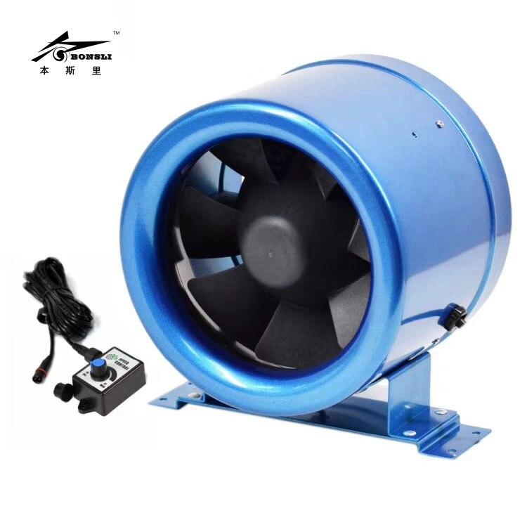 5'' 125mm diameter small ventilation fan blower ultra silent with speed controller 110v 240v Greenhouse ventilation