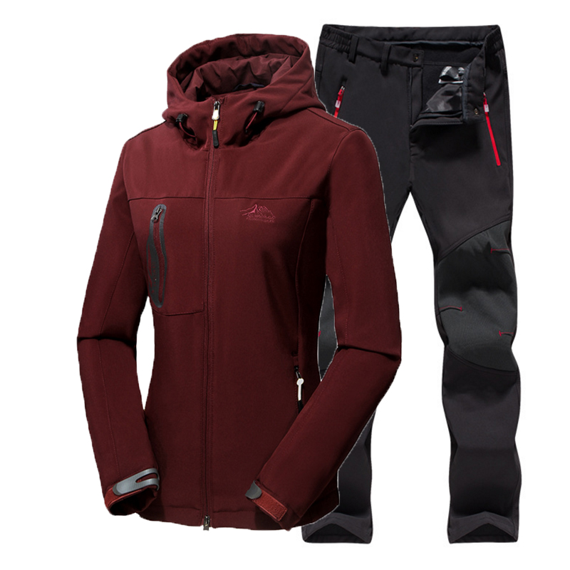Oversizd 5XL Woman Winter Fleece Warm Trekking Climb Free ship Waterproof Jacket SoftShell Pants Camping Hiking Trousers Set direnjie man winter waterproof fishing camping trekking fleece softshell outdoor jacket pant set sport hiking trousers 5xl s36