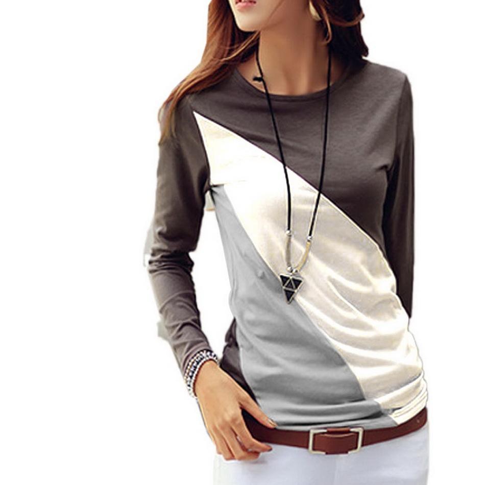 T Shirt Women Spring Autumn Casual Women T-shirts O-neck Long Sleeve Patchwork Color Slim T-shirt Female Tops Tshirt