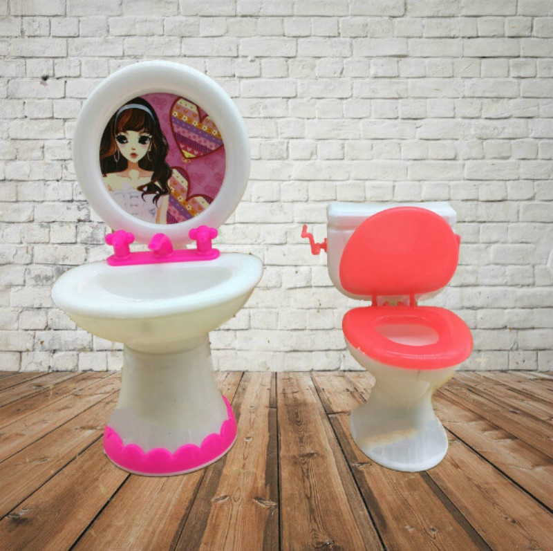 Cute Doll Closestool+Washbasin Toilet Wash Devices Dollhouse Furniture Bathroom Set For Barbie and for Kelly doll Lifebuoy toilet closestool butterfly and flower rattan pattern wall sticker