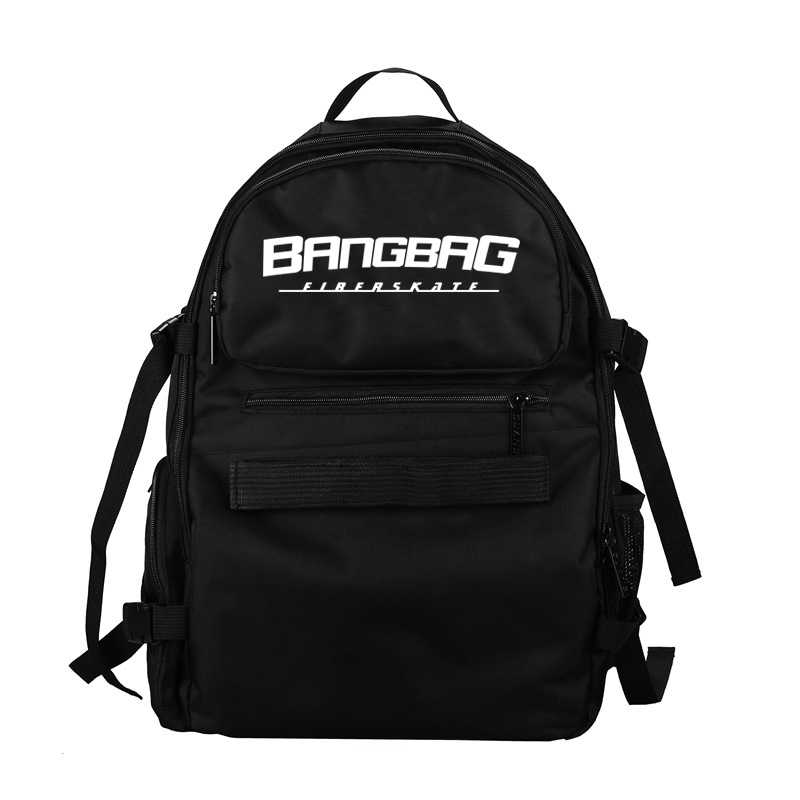 ... Free Shipping 2017 New Oxford Fabric Double Rocker Bags Skateboard  Backpack Lovers Bags Black Students Bags d55add51505a0