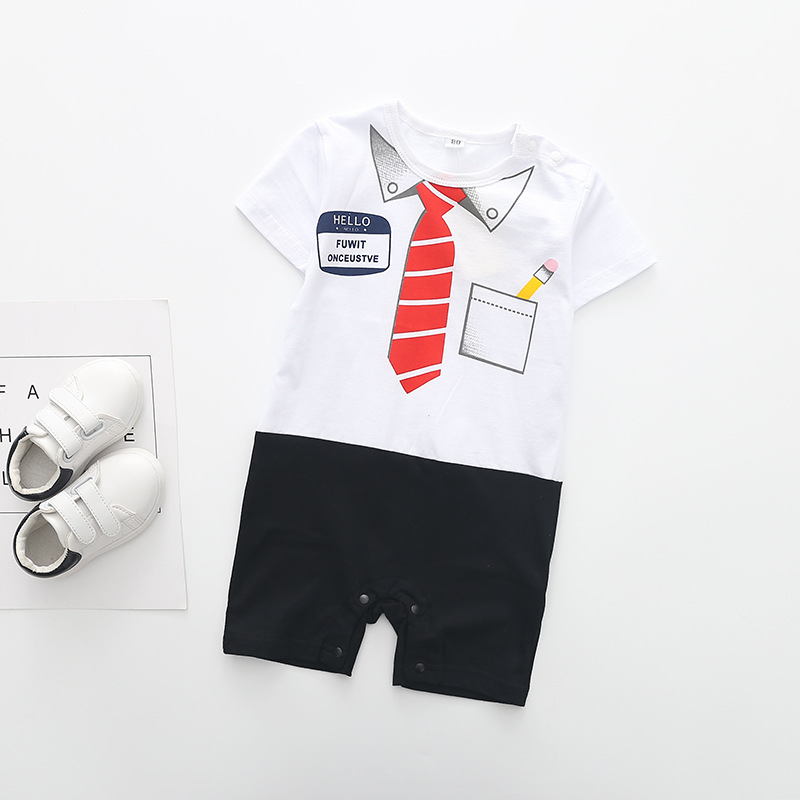 2017 New Baby Rompers Gentleman Tie Letter print Newborn toddler jumpsuits ,0-2Y kids Climb Clothes Short sleeve Rompers   Happy Baby Mama