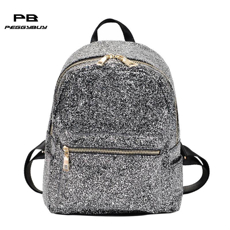 Fashion Sequins Women Leather Shiny Backpack Bling