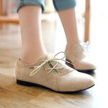 أكسفورد أحذية للنساء حجم كبير 34 43 المرأة أحذية أنيقة امرأة الشقق الربيع الإناث الباليه المعادن جولة تو الصلبة عادية B 5