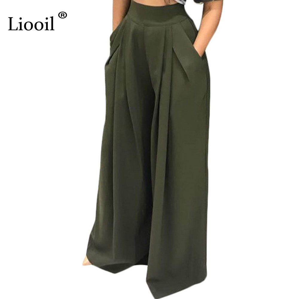 Liooil Sexy Club Army Green Loose   Wide     Leg     Pants   Trousers Women Autumn Winter 2019 High Elastic Waist Pleated Pocket Party   Pants
