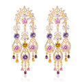 Luxury Bridal Jewelry Multi Colors Stone Art Deco Chandelier Drop Dangle Earrings Long Tassel Earrings