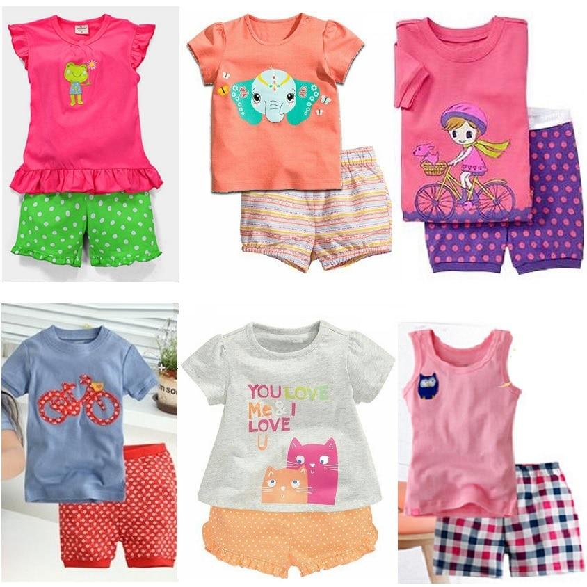 Hooyi Baby Girls Outfits 100% Cotton Summer Short Sleeve Kids Tee Shirts Shorts Pants 2 3 4 5 6 7 Year Girl's Pajamas Sleepwear
