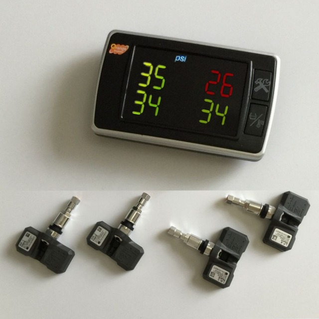 Оранжевый TPMS P409S Автомобилей Давления в Шинах Мониторинг Температуры Системы 4 Внутренних Датчиков Дисплей Целые Наборы