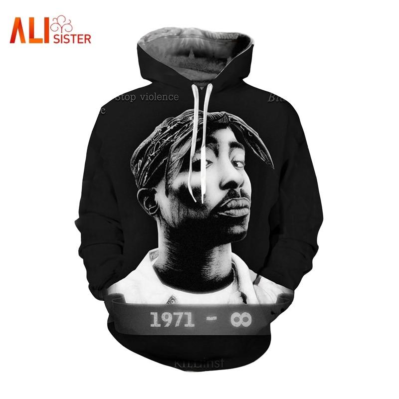 2PAC Tupac 3d impresión sudaderas con capucha sudadera de las mujeres de  los hombres 2019 Otoño f95edeb771b