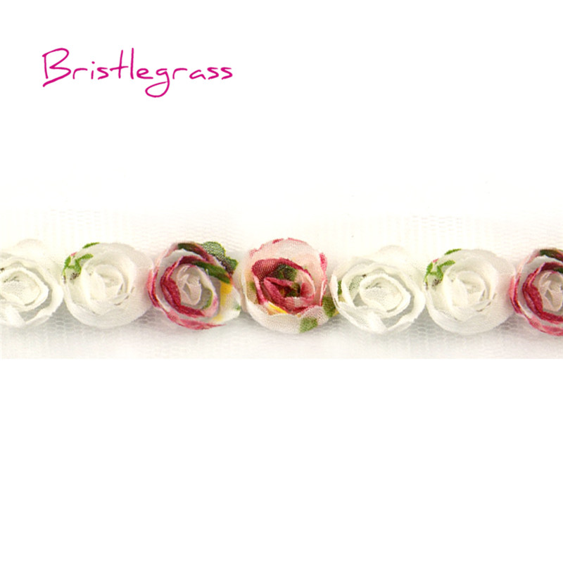Мини-шикарная шифоновая Цветочная роза с розочками, сетчатая кружевная отделка, повязка на голову, аксессуары для волос, платье, 1 ярд, 0,79 дюйма, 2 см