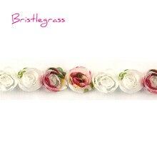 BRISTLEGRASS 1 Yard 0.79 2cm Mini Chic Chiffon Floral Rose Flower Rosette Mesh Lace Trim Headband Hair Accessories Dress Craft