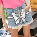 2017 spring tide brand new butterfly Sequin denim shorts female personality straps stitching high waist shorts