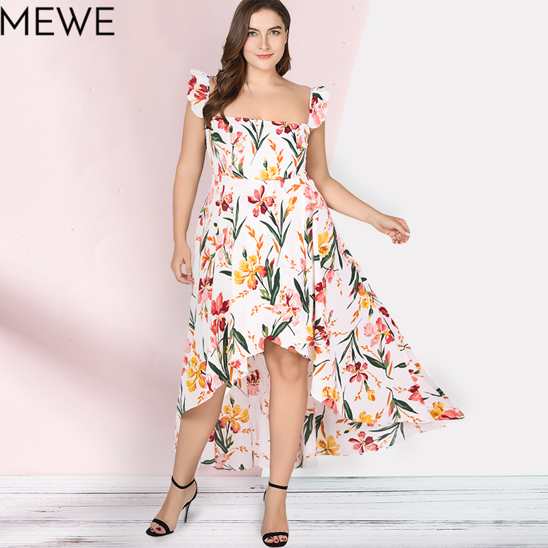 Women Summer Dress 2018 Boho Beach Long Dress Plus Size 5xl Fashion Ruffle Maxi White Floral Dresses Ladies Casual Sundress 6xl