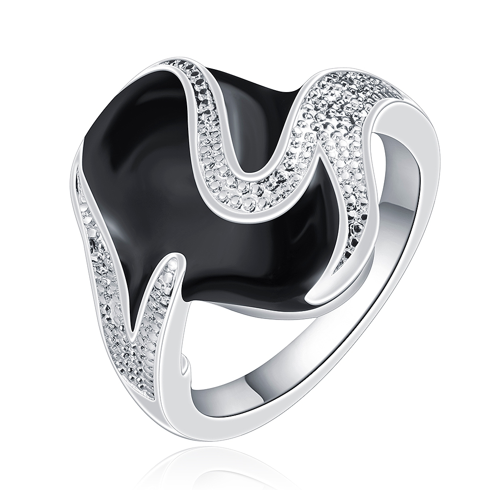 Christmal Gift!!925 Silver Ring,Sterling Silver Fashion Jewelry,Oval Zircon & Oil Drip Black Rings SMTR667  titanium ring