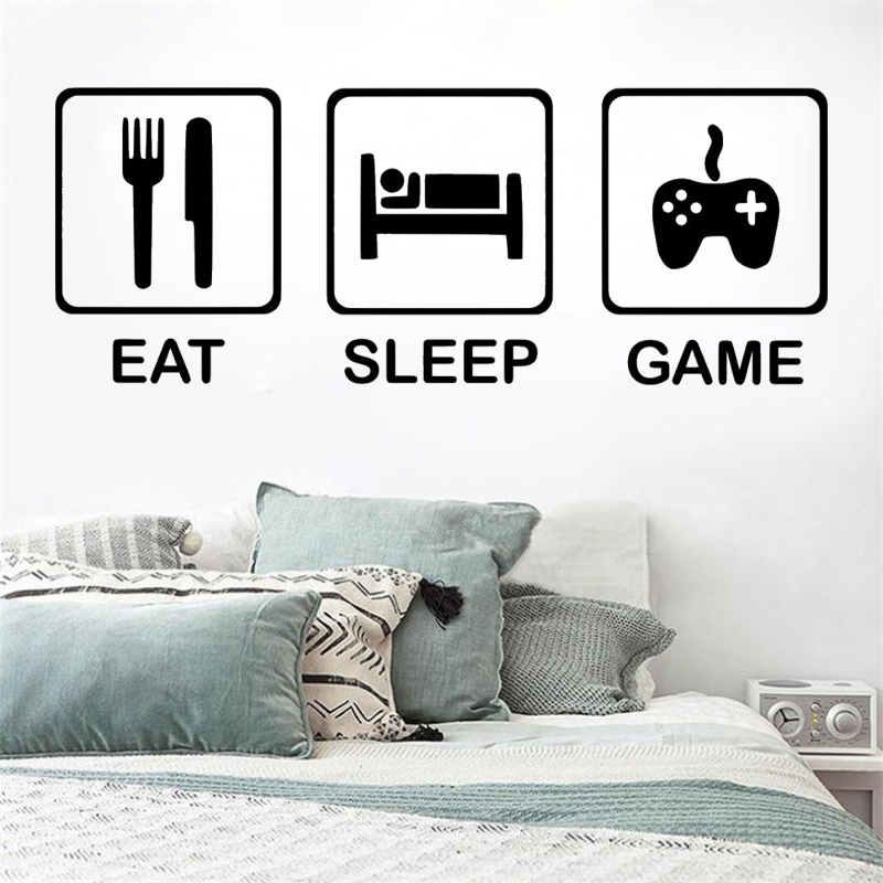 Eat Sleep Agers Children S Bedroom R Gaming Wall Sticker Vinyl Art Removable Poster Mural Beauty Decals Lx93