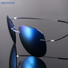 2017 New Fashion Ultralight Rimless Titanium Polarized Sunglasses Men Driving Brand Design Sun Glasses Oculos De Sol
