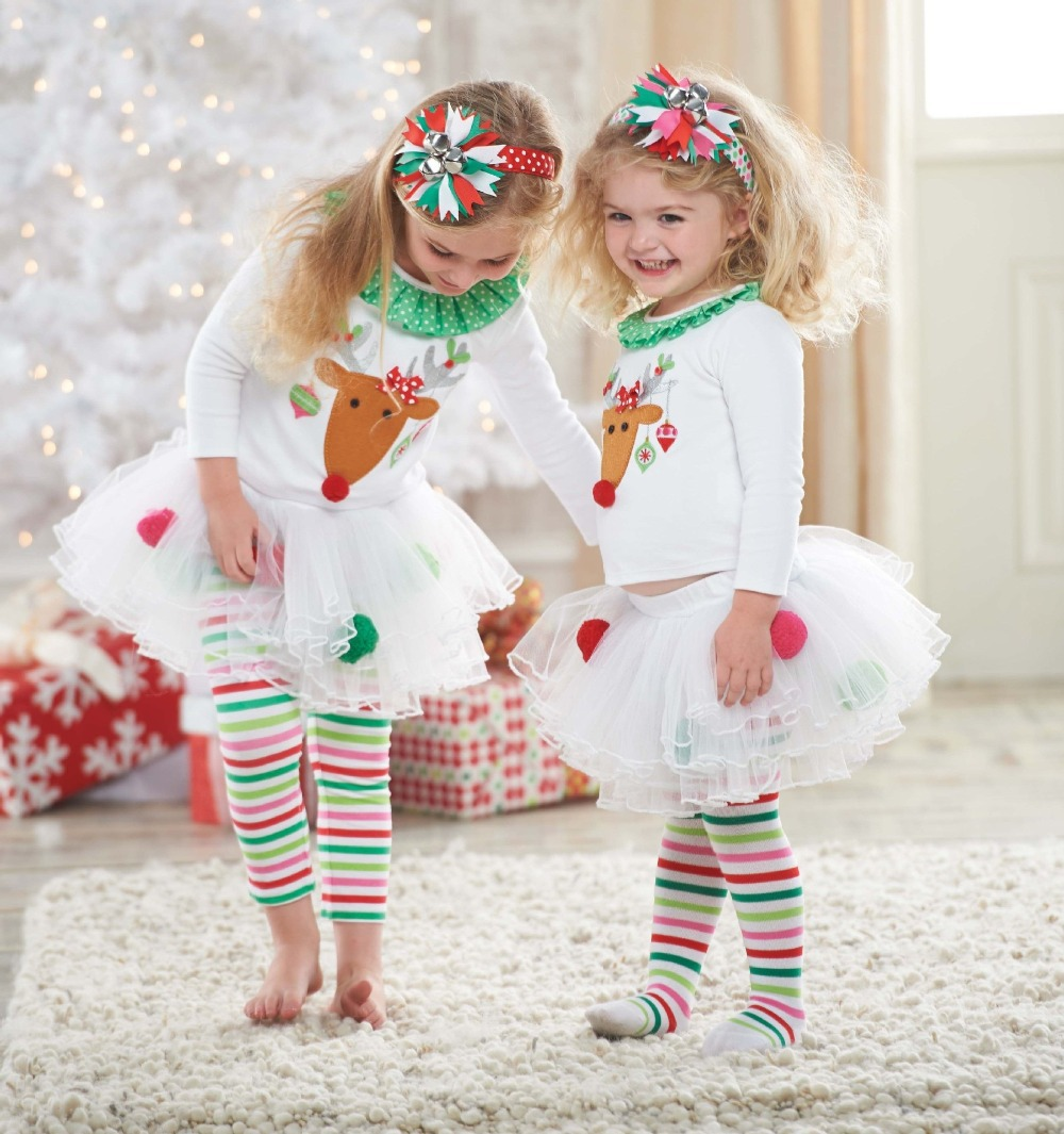 1 set 2018 kids Christmas Costume Baby Girl Merry Christmas pajamas suit for Girls Christmas reindeer clothes set